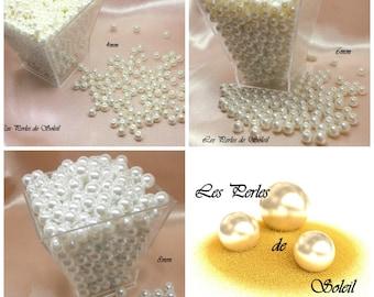 Perles nacrées BLANCHE  en verre   4mm, 6mm, 8mm, 10mm, 12mm