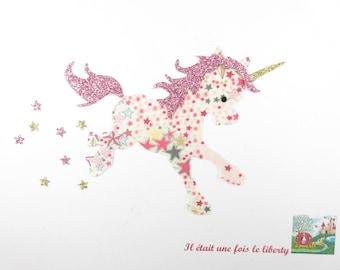 Applied fusible Unicorn that short fabric Adelajda pink flex glitter patch iron on fusible pattern liberty coat