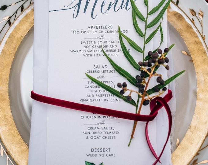 Green & Navy Blue Calligraphy Winter Fruit Pomegranate Blackberries Strawberries Printed Wedding Menu