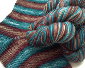 Hand dyed self striping merino sock yarn - The Barrens
