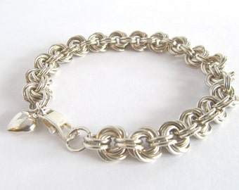 Sterling Silver Chainmaille Bracelet - Silver Flower Weave Bracelet - Argentium Silver - Sterling Chain Bracelet - Chunky Silver - 211026