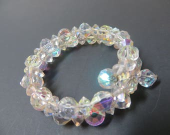 Crystal Aurora Borealis Spring Coil Bracelet