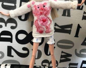 12inch size doll sweater (sakura bear)