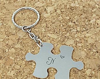 Puzzle Piece keyring; puzzle keyring; hand stamped keyring; stamped keyring; autism awareness; jigsaw keyring; puzzle keychain; personalised