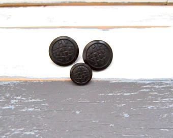 Three Vintage Shank Back Buttons - Vintage Coat Buttons - Dark Brown Buttons  (#105)
