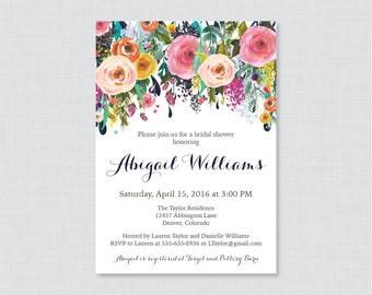 Bridal Shower Invitation Printable or Printed - Floral Bridal Shower Invites - Shabby Chic Colorful Flowers Garden Bridal Shower 0002-B