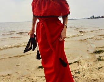 long summer dress bohemian gown boho chic peasant dress Ukraine