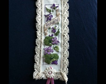 Handmade Month of February Cross Stitch Bookmark