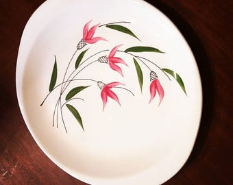 Vintage oven proof platter with pink flowers