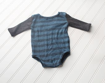 Teal the Line - 3-6 month long sleeve romper in ribbed stripe knit in teal, black and charcoal grey (RTS)