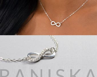 ERIKA Sterling Silver CZ Diamond Dainty Infinity Necklace, Simple Everyday Necklace, Infinity Charm, Delicate Necklace, Sparkle Necklace