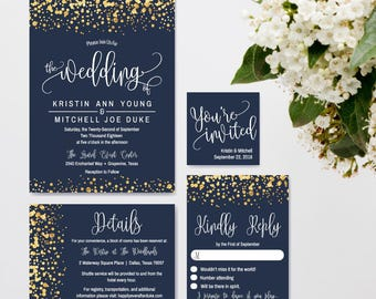 Navy wedding invites etsy navy and gold glitter dots wedding invitation stopboris Image collections