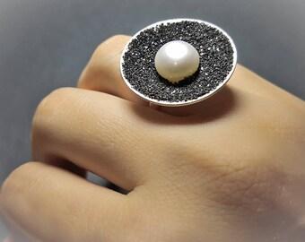 Druzy Ring, Mineral Ring, Raw Mineral Ring, Druzy Ring Sterling Silver, Adjustable Druzy Ring, Druzy Jewelry, Black Druzy Ring, Black Rings