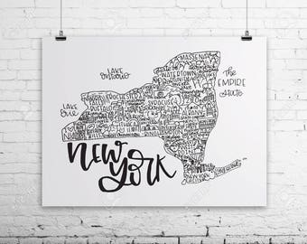 New York State Print- Hand Lettered State Print- New York Pride- New York Art- New York Print- Handlettered Art- New York Wall Decor