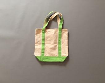 LIME cotton tote | small vegan cotton tote | thick cotton market tote