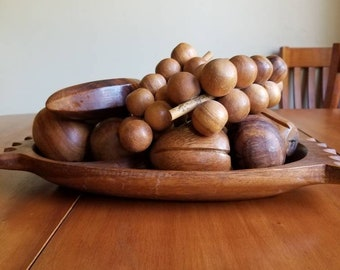 Teak Fruit Bowl with Fruit