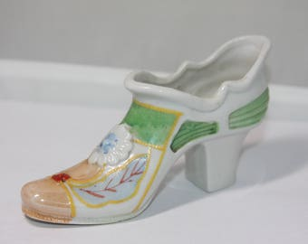 Vintage Decorative Ceramic Flower Painted Shoe Boot Small Planter Made in Japan