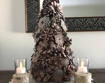 """18"""" Flocked Pinecone Christmas Tree"""