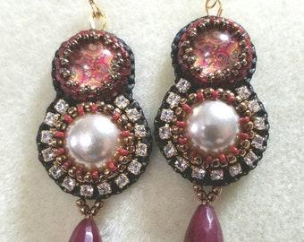 Bead embroidered  dangle earrings