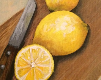 "Fresh Cut Lemon 5"" x  7"" Original Still Life Painting by Torrie Smiley"