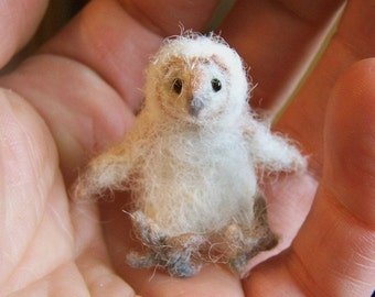 baby barn owl Little wee felted pet critter