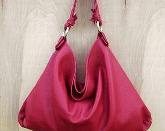 Red Lambskin Leather Hobo Bag