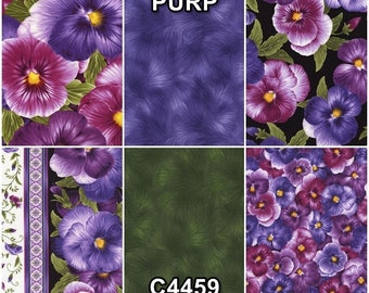 Viola Violet Pansies Cotton Fabric by Timeless Treasures! 6 Options [Choose Your Cut Size]