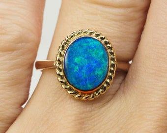 Vintage Lightning Ridge Black Opal Ring