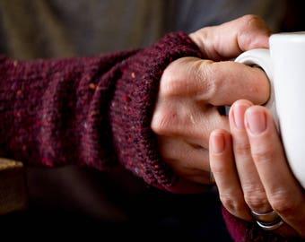 Knitted Wool Arm Warmers. Fingerless Gloves. Wool Wrist Warmers. Knitted Fingerless Mittens. Dark Red Gloves. Gift for Her. Gift under 50.