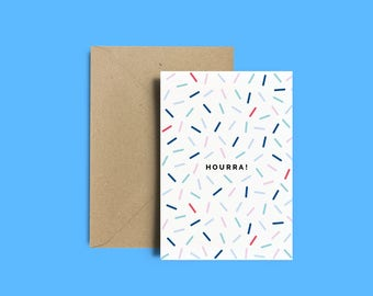 "Carte postale fêtes, anniversaires, cadeau, enveloppe, carte ""Hourra !"" + Enveloppe Kraft recyclé"