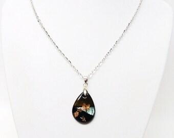 Small Fused Glass TearDrop Pendant Necklace