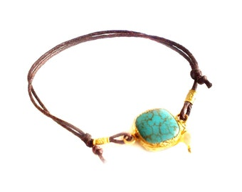 Turquoise Bracelet made with sterling silver coated in 18K gold vermeil, dangling pearl, turquoise bracelet, turquoise and pearl, turquoise