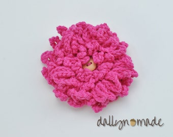 Hot Pink Flower Bow, Child's Hair Clip, Chrysanthemum, Girl's Hair Accessory, Photo Prop