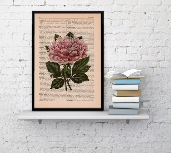 Wall decor Floral Print Dictionary print Peony flower on french book page wall decorative Gift wall botanical BPBB048