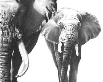 ELEPHANT ART PRINT - african elephant print, elephant gift, elephant decor, elephant wall art, black and white elephant painting, animal art
