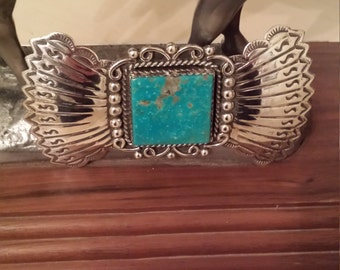 Sterling silver turquoise Navajo bolo brooch