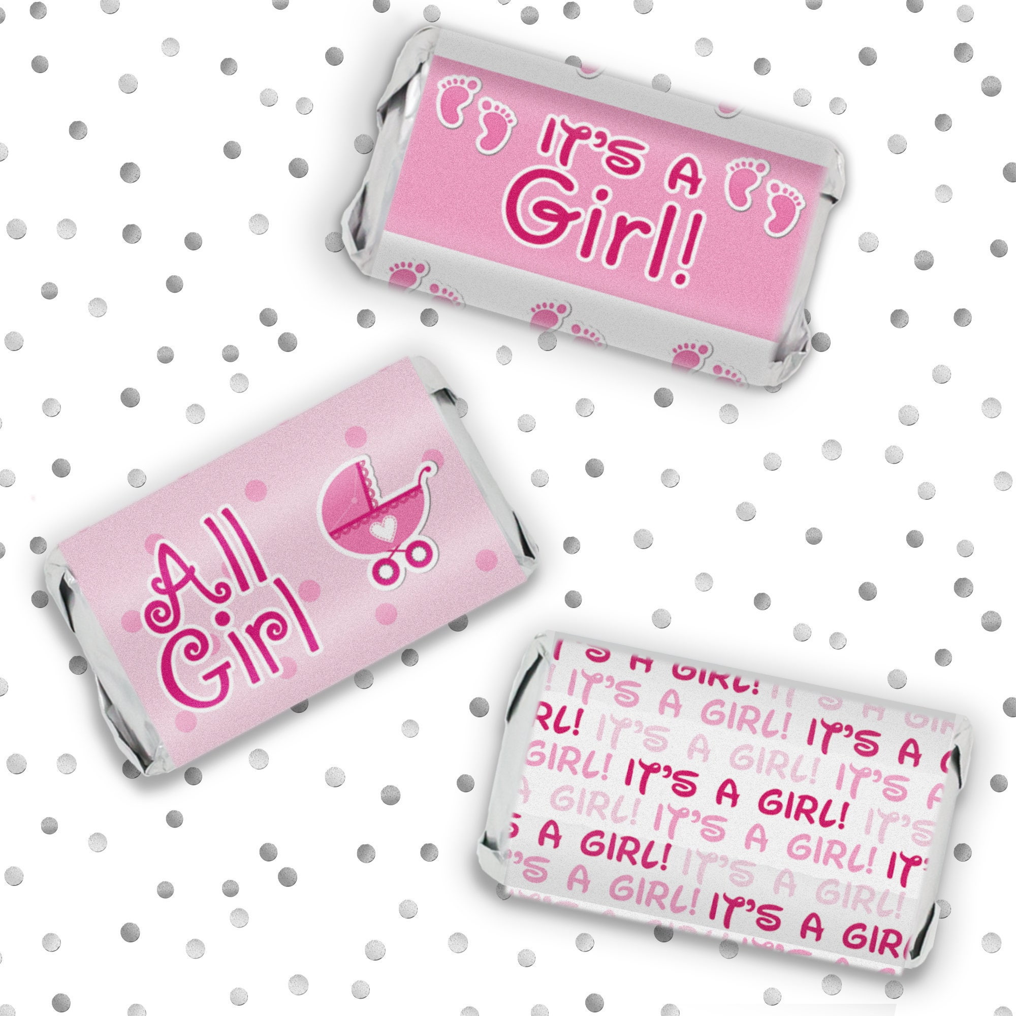 Baby Girl Shower Favor Candy Sticker Wrappers for