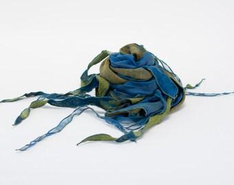 PHYLAD scarf - Olive and aqua