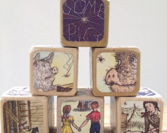 Charlotte's Web // Childrens Book Blocks // Natural Wood Toy