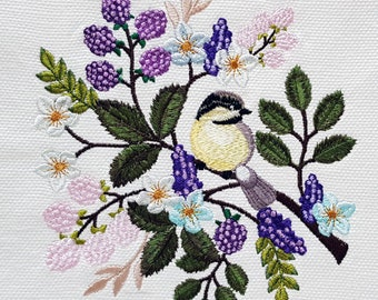 Titmouse Machine Embroidery Design - 3 sizes