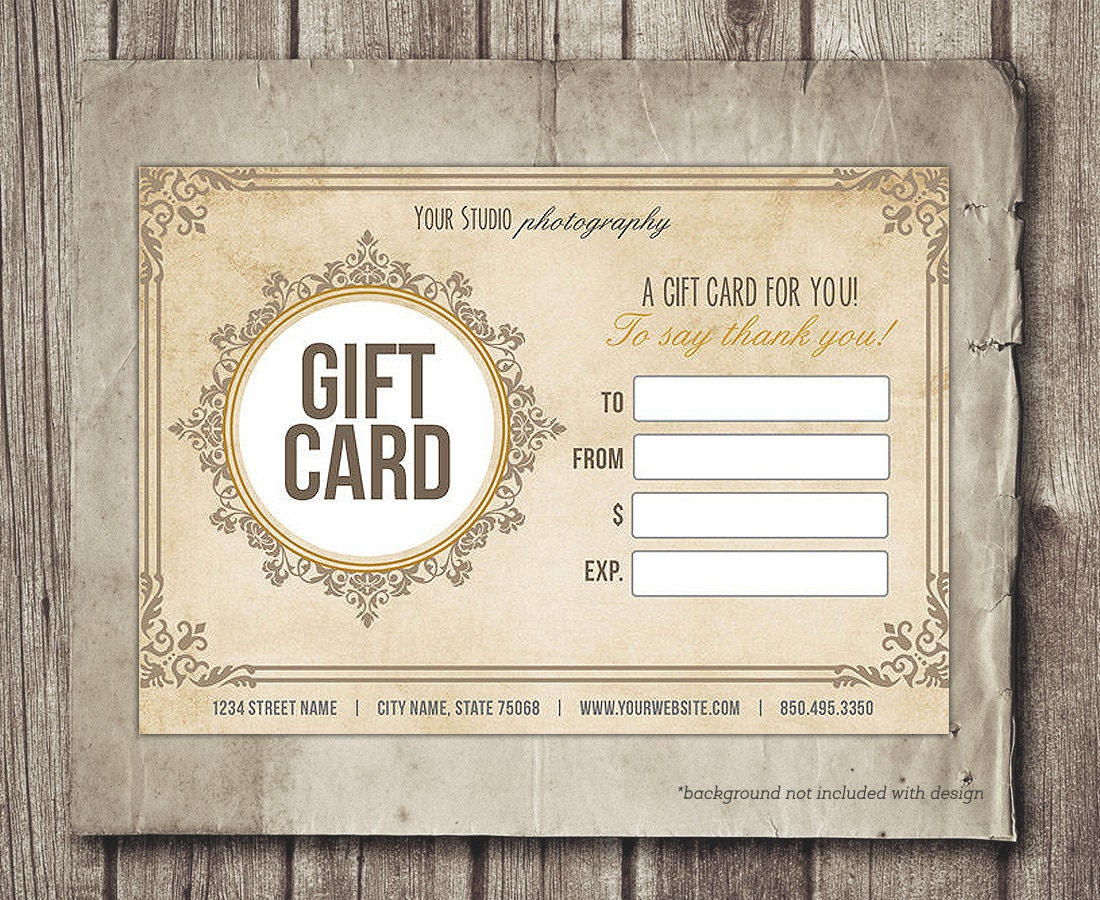 digital gift certificate template  Gift Card Template Digital Gift Certificate Photoshop