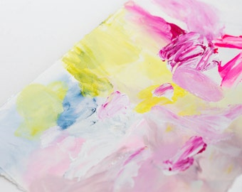Original Small Abstract Painting on Paper in Bright Pink and Pastels