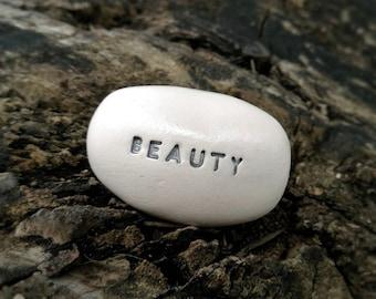 BEAUTY - Ceramic Message Pebble (silver)