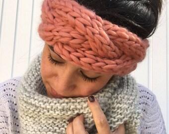Handmade dark coral headband 100% wool to keep you warm
