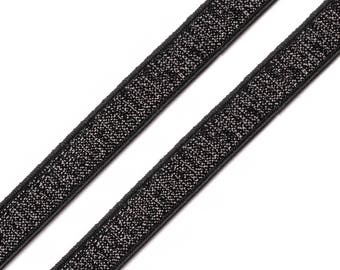 Black elastic lace and lurex10 mm