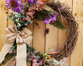 Handmade Wreath~Summer Wreath~Front Door Wreath~ Year round Wreath~Fall Wreath~Home Decor~Rustic Wreath