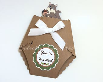 Baby Shower Diaper Invitations - Woodland Squirrel Themed Set of 20