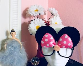 Cute Fashion Pink Polka Dot Bow Minnie Mouse Ears Sunglasses