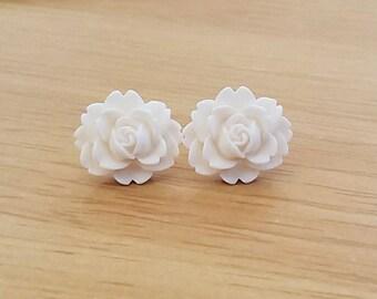 Cabbage Rose Beautiful Bloom Flower Earrings White