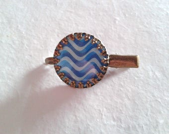 1 hair clip - cabochon ' pattern: Waves '